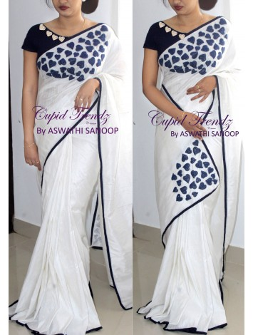 White and Navy Blue Hollycommunion Saree
