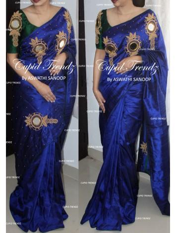 Dark Royal Blue Rawsilk Designer Saree