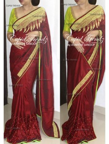 Classy Maroon Designer Saree