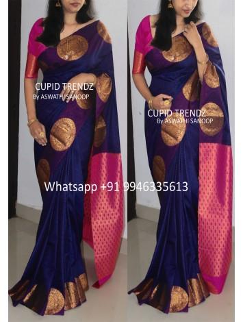 Bright Navy Blue Semi Silk Saree