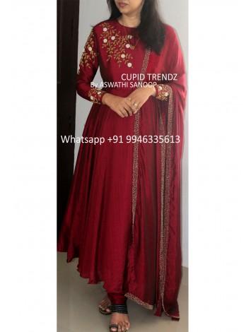 Ready to wear Maroon Butter Silk Hand worked Salwar