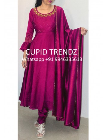 Red Wine Silky Goergette Salwar with mirro and beads work