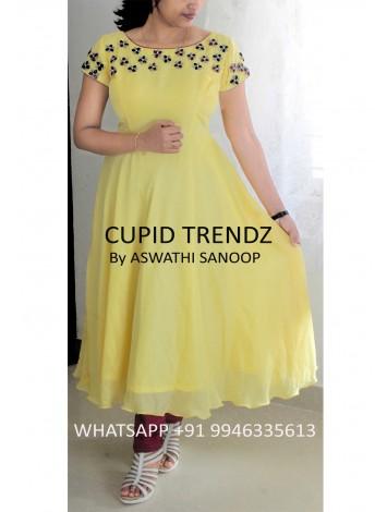 Ready to wear yellow silky georgette salwar with bullion flower work