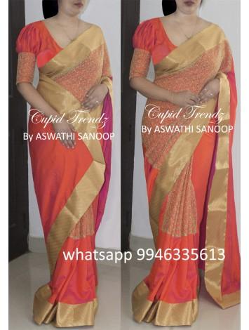 Orange malai silk saree with pttern work