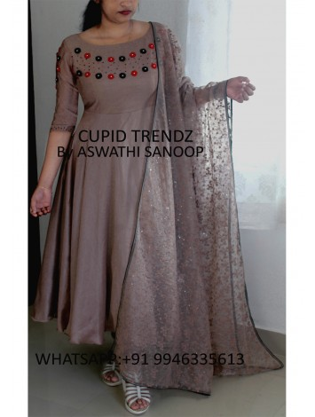 Ready to wear Peanut silky goergette salwar with red and black hand work