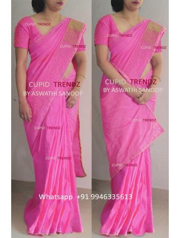 Pink Rawsilk Saree with golden bead work