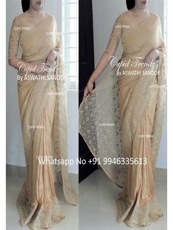 Wheatish skin color silky georgette designer saree