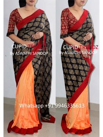 Navy Blue chandheri and semi silk orange saree