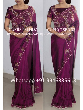 Imperial purple butter crepe saree with bead work