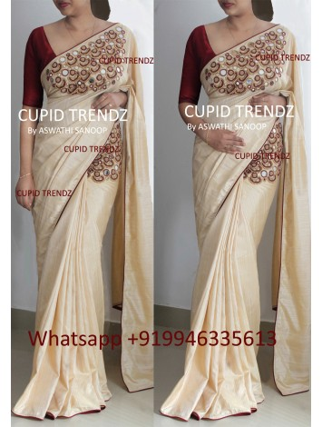 Cream semi silk saree with kammal and mirror design
