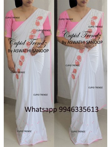 White Semi Jute Saree with pink bead work