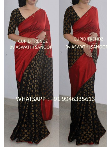 Black Chanderi Cotton and butter crepe maroon saree