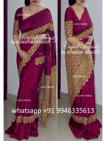 Burgundy butter crepe saree with cutwork design