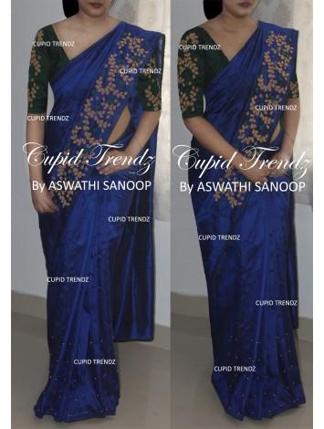 Royal blue rawsilk saree with handwork