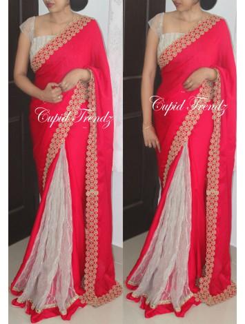 Crimson red crepe georgette and off-white net pleats saree