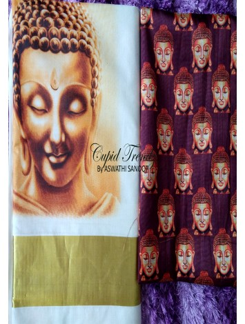 Kerala saree with fabric painted budha design