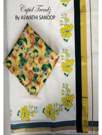 Kerala saree with painted kanikkonna design
