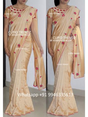 Golden Beige thread worked Saree